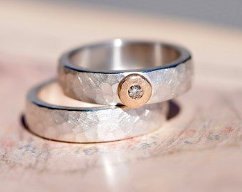 Wedding Rings Silver hammered * PURO * pink gold diamond