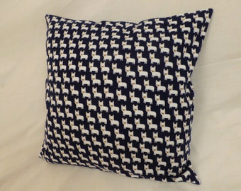 Navy Blue Puppy Cushion Cover