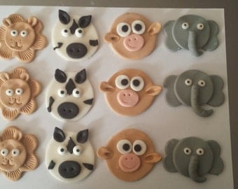 Cupcake Toppers Safari/ Zoo Animals: Lion Zebra Monkey Elephant Fondant