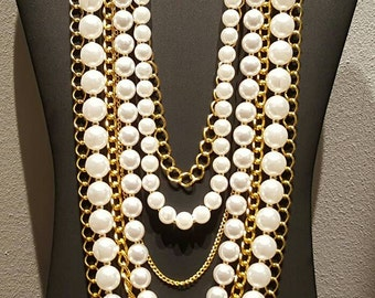 7 Row Pearl and Chain Necklace Set