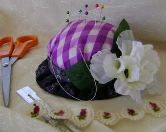 Purple & Silver Check Crown Hat Pin Cushion