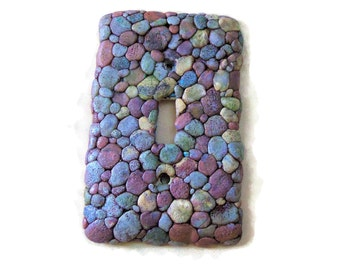 Blue River Rock Switch Plate Cover - Polymer Clay Grey and Blue Pebble Switchplate - Nauture Switch plate cover - Decorative Swtich Plate