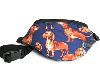 Fanny pack Dachshund Dog fabric  - This one has the black/brown dachshund in the front