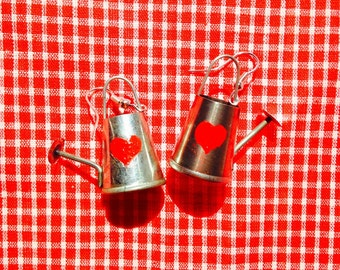 THE WATERING CANS -- Miniature, metal, with red heart handpainted by The Sausage