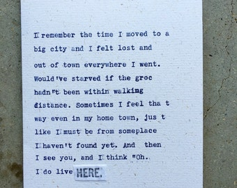 I remember the time I moved to a big city; felt lost; HERE; original hand-typed card; ginger hendrix original