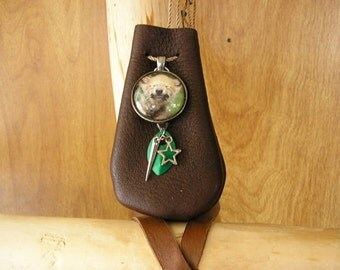 """Wolf pup, coco leather pouch with 36"""" long beaded, adjustable cord, glass charm , leaf, star & spike 3.5"""" x 2.25"""""""