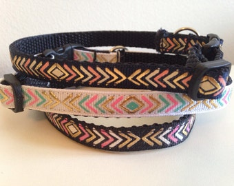 White, Navy Blue or Black with Colorful Arrows Cat Collar
