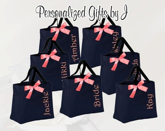 Bridesmaid Gift, 9 Personalized Bridesmaid Gift Tote Bags- Embroidered Tote - Maid of Honor Gift - Name Tote- Mother of the Bride/ Groom