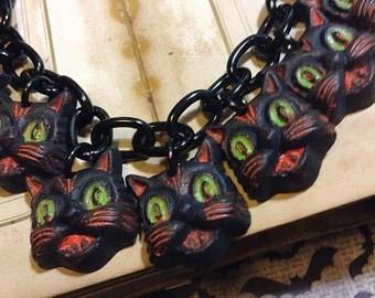 JUST CATS Halloween Charm Necklace - Skull Bat Pumpkin Witch Cat - Novelty Jewlery Costume - Resin Plastic Fakelite - Retro Primitive Rustic