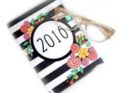 2016 planner - Modern Floral Stripe - medium monthly planner - purse sized - 5 x 7.5 inch - calendar weekly planner