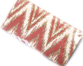 Checkbook Cover - Red and Cream ikat chevron - zig zag checkbook holder - modern geometric check book case - cardinal, cream, and gold