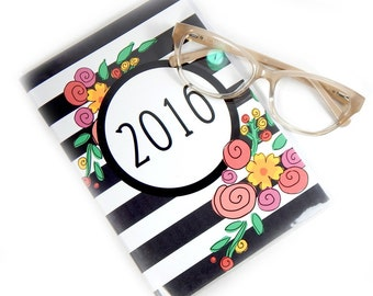 2016 planner - Modern Floral Stripe - medium monthly planner - purse sized - 5 x 7.5 inch - calendar weekly planner
