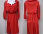 Vintage 70s Red and White Polka Dot Dress // Secretary Day Dress // size Med - Lge