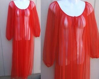 60s Vintage Red Sheer Nylon Chiffon Robe / Sexy Peignoir Robe // sz Med Lge XL