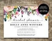 Bridal Shower Invitation Instant Download | Bridal Shower Invite  | pink, printable, spring, floral, purple | Ashley Collection | PDF