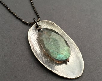 Chrysalis, Labradorite, Fine Silver, Oxidized Sterling Silver Gemstone Charm Necklace, erinelizabeth