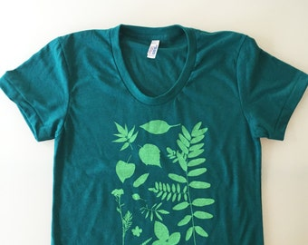 Botanical tee, plant shirt, leaves and flowers top, gardening shirt (size LADIES EXTRA SMALL) teal/green