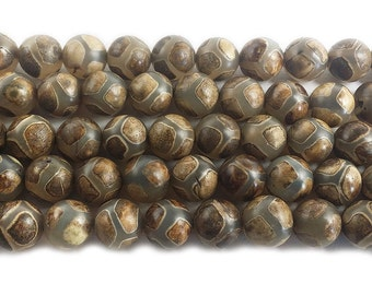 Tibetan Style Agate Brown Soccer Gemstone Beads