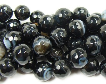 Black Striped Agate Faceted Gemstone Beads
