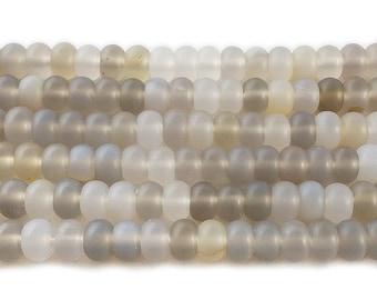 Gray Agate Matte Rondelle Gemstone Beads