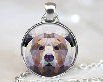 Geometric Bear Pendant, Bear Art Necklace, Bear Jewelry, Polygon Bear Art Pendant, Geometric Bear Art, Bear Portrait, Bronze, Silver, 025