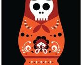 Silkscreen Poster - Guided By Voices - Screenprint Rock Poster Print - Matryoshka Doll Art Skull Art