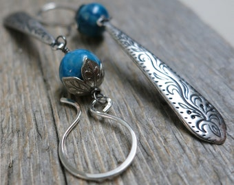 Calunga earrings ... stamped antique silver paddles / blue green chrysocolla / sterling silver earwires