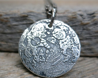 By the Light of the Moon necklace ... fine silver / sterling sliver / antique silver / full moon pendant