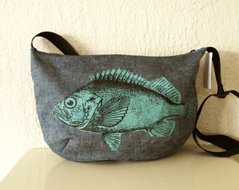 Denim fish Shoulder Bag Folds Up Small SALE