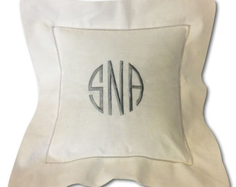 Custom Monogrammed White Pillow Cover Embroidered Boutique Nursery
