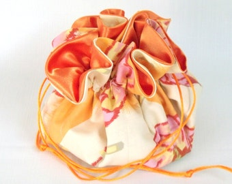 Jewelry Drawstring Travel Bag, Tote, Pouch   Amy  Butler Water Lily in Clay  Extra Large