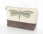 Large Zipper Pouch, Fabric Cosmetic Case, Zipper Makeup Bag - Dragonflies in Green, Cream and Taupe