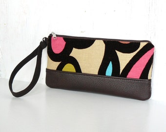 Zipper Wristlet Clutch, Fabric Wristlet Wallet, Clutch Bag - Serendipity Swirl in Espresso, Aqua, Pink and Cream