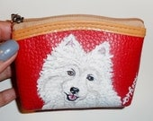 American Eskimo Dog  Hand Painted Leather Coin Purse Vegan Mini Wallet Red
