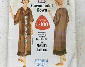 1965 McCall's Camp Fire Girl Ceremonial Gown Pattern No. L-100