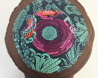 Women's Military Cap in Brown - Purple Blossom with Teal Floral Top - Cadet Hat