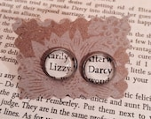 Pride and Prejudice Earrings - Gift For Her, Darcy and Lizzy, Mr Darcy and Elizabeth, Jane Austen, Literary Jewelry