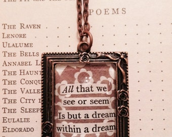 Edgar Allan Poe Quote Necklace / Literary Jewelry / Poetry Necklace / Gift For Her / Book Lover Gift / Recycled Book Necklace