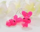 Hot Pink Rabbit Earrings Bunny Jewelry Candy and Cherry - Kawaii Earrings - Bunny Rabbit Jewelry - Bunny Earrings