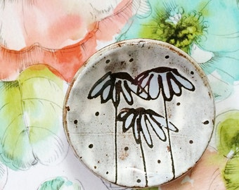 Ceramic jewelry tray ring dish - modern ceramics pottery dish with flowers and polka dots drawing - blue white black