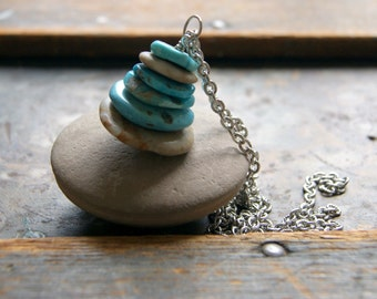 Turquoise and Beach Stone Cairn Necklace - beach stone necklace - turquoise necklace - zen - Cairn Jewelry - bohemian jewelry