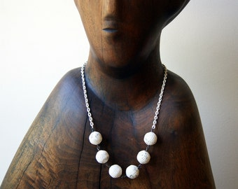 White Necklace - distressed white plastic vintage beads with salvaged chain - boho chic - eco fashion - salvaged