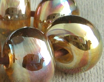 Gold Pink Aurora Lampwork Spacer Handmade Glass Beads Fumed Silver Glass 2 4 5 6 Bead Set Choices