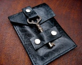 Black Leather Business Card Case with Antique Key Closure - Credit Card Wallet - Embossed Rose Leather