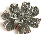 Vintage Silver Flower Brooch by Vendome - Large Statement Pin - Two Rows of Petals with Cutout Triangles, Dome in Center - Antique Silver