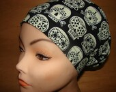New Floral Skulls Glow Medical Surgical Scrub Hat Vet Nurse Chemo