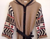 70's Bell Sleeve Cardigan Sweater with Hood Medium - Large