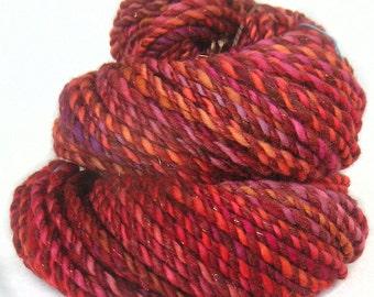 Handspun handdyed yarn Merino wool silk kidmohair and sparkle