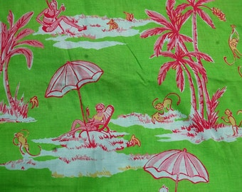 "Lilly Pulitzer Inspired Palm Beach Green and Pink Fabric Sunbathing Monkeys  3yds. x 42"" wide"