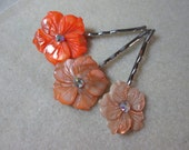 Shades of Orange Hairclips accented with Swarovski Crystals